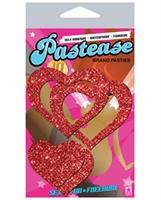 Pastease Glitter Peek a Boob Hearts - Red