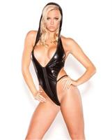 Kitten wet look hooded temptress teddy