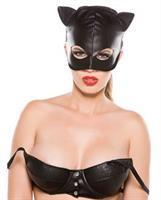 Faux Leather Cat Mask Black