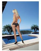 Net pantyhose with cheeky boy shorts lace top black