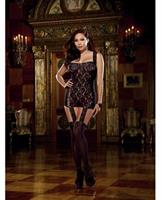 Lace Garter Dress with Attached Stockings