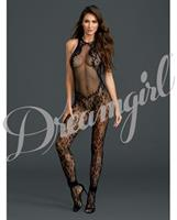 Fishnet and Floral Bodystocking Black