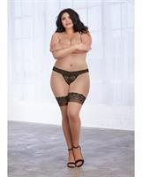 Cuban Heel, Sheer Thigh High Stockings w/Contrast Seam Nude/Black