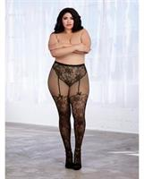 Lace and Fishnet Pantyhose w/Knitted High Waist Lace Panty and Thigh High Design Black