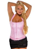 Brocade Pattern Razor Back Corset w/Hook and Eye Front Closure and Acrylic Boning Pink