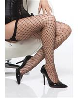Diamond Net Thigh High Stockings Black