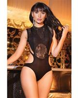 Microfiber Paneled Lace and Fishnet Teddy Black