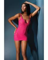 Sleek Seamless Stretch Lace Net Dress w/Front and Back Strappy Cutouts Neon Pink
