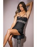 Classic Scallop Lace Chemise w/Underwire Cups, Metallic Lace Detailing Black