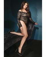 Bold Stretch Lace Teddy w/Removable Straps and Snap Crotch Black