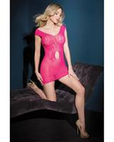 Sleek Seamless Stretch Fishnet Tank Dress w/Waist Keyhole Neon Pink