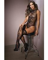 Sleek Sheer Nylon High Neck Teddy w/Print and Stockings Black
