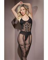 Sleek Sheer Nylon Opaque Print Bodystocking Black