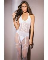 Sleek Sheer Nylon Opaque Print Bodystocking White