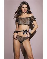 Classic Off the Shoulder Crop Top, Ruched Thong and Cuffs Black