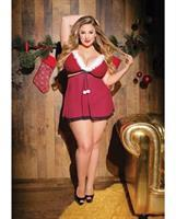 Holiday Velvet and Mesh Convertible Babydoll Red/Black