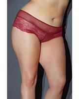 Valentine Lace Fishnet Booty Short Red