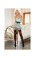 Stretch Mesh Apron Babydoll w/Removable and Adjustable Garter Straps and Thong Aqua/Blk