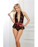Holiday Lace Halter Teddy w/Snap Closure Black