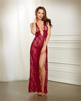 Holiday Lace Gown and G-String Garnet