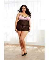 Stretch Lace and Spandex-Mesh Babydoll Black/Pink