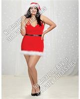 Velvet Santa Themed Halter Chemise w/Marabou Trim and Santa Hat Lipstick Red
