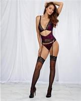 Satin Teddy w/Lace Overlay, Attched Gartr Blt w/Remvable Gartrs and Attched Pnty Raspberry/Black