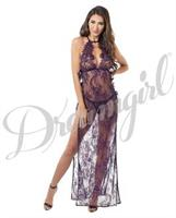 Toga Style Lace Gown w/Adjstble Satin Straps, Halter Cups and G-String Plum