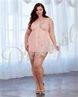 Sheer and Lace Babydoll Pink Champagne