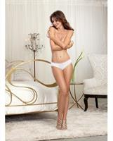 Microfiber Cheeky Panty w/Rhinestone Bride on Back White