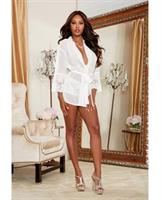Chiffon and Stretch Lace Short Length Kimono Robe and Cheeky Panty White