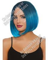 Mid-Length Ombre Bob Wig - Steel Blue/Bright Blue