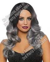 Long Wavy Ombre Wig - Black/Gray