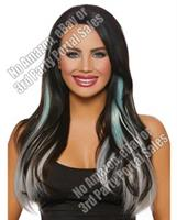 Long Straight Ombre 3 pc Hair Extensions - Aqua/Light Gray