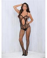 Keyhole Front Lace and Net Crotchless Bodysuit Black