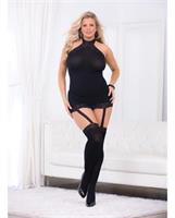 Holiday/Valentine Hi-Neck Body w/Thigh Highs Black