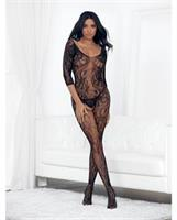 Lace 3/4 Sleeve Open Crotch Bodystocking Black