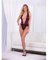 Holiday/Valentine Plunging Teddy Deep Wine/Black