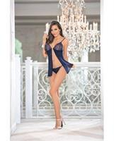 Holiday Jeweled Baby Doll w/Open Front Navy