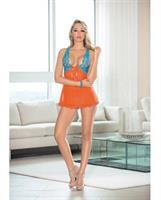 Lace and Mesh Baby Doll w/Bow Orange/Ocean Blue