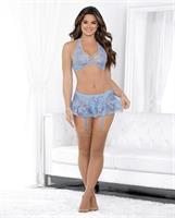Strappy Criss Cross Bra, Skirted Garterbelt, Thong and Thigh Highs Iridescent Blue