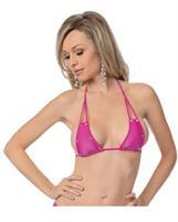 Jewel Cut Out Halter Top Neon Pink