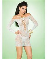 Vivace Long Sleeve Lace Mini Dress w/Lace Up Front Mint Green