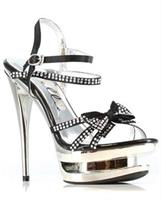 "Ellie Shoes Tess 6"" Rhinestone Strap Heel"