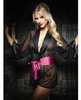 Premiere Nancy Kimono Robe and Panty Black/Berry