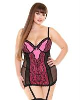 Curve Gretchen Lace and Mesh Chemise w/Molded Cups and G-String Neon Pink