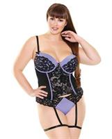 Curve Lisette Lace Bustier w/Attached Leg Garters and Panty Periwinkle