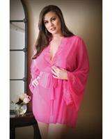 Curve Haley Lace and Mesh Robe and Panty Hot Pink