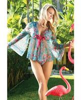 Spring/Summer Floral Mesh Robe w/Tie Front Floral