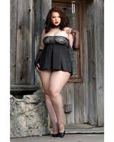 Fall Winter Metallic Lace and Satin Tie Back Babydoll w/Panty Black